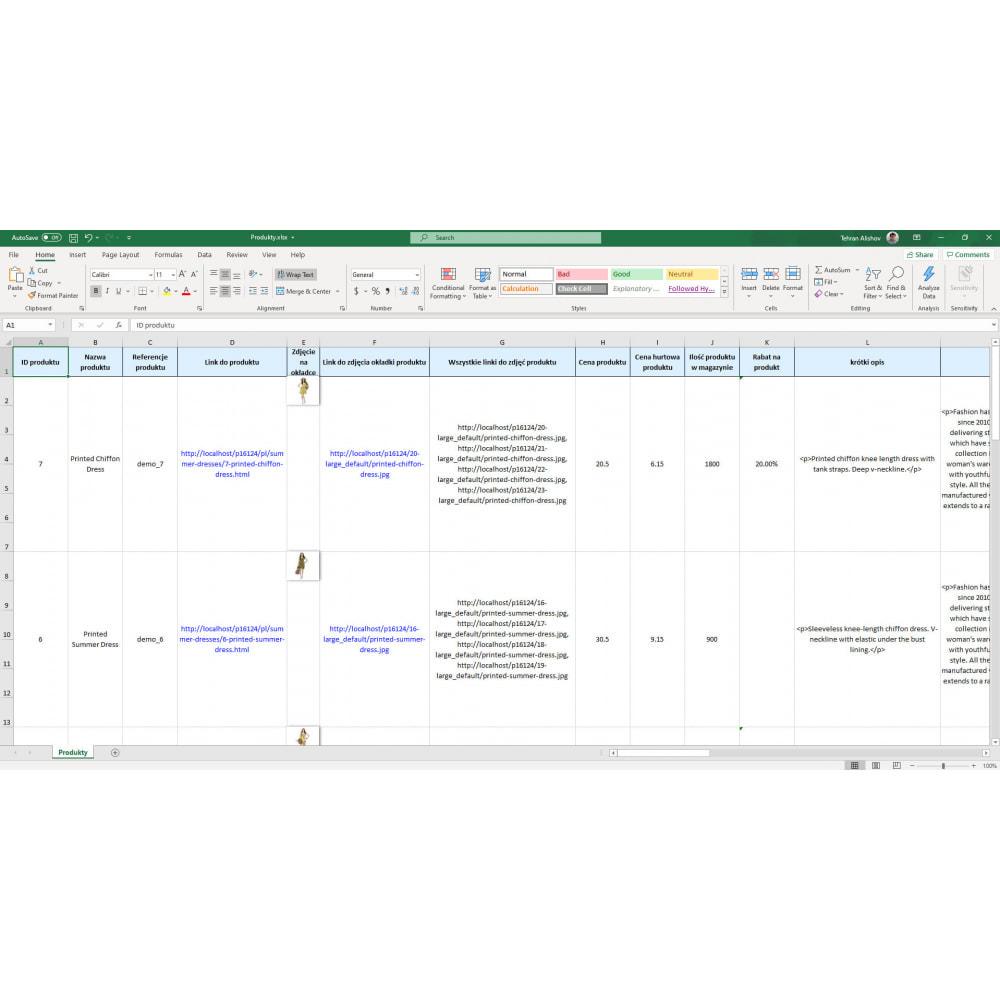 module - Import & Eksport danych (csv, pdf...) - Eksport Produktów (Excel, CSV, XML, Cron, Email, FTP) - 7