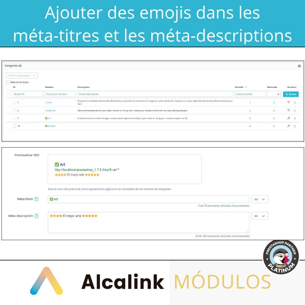 module - SEO (référencement naturel) - Emojis dans metas (produits, catégories, CMS ...) - SEO - 2