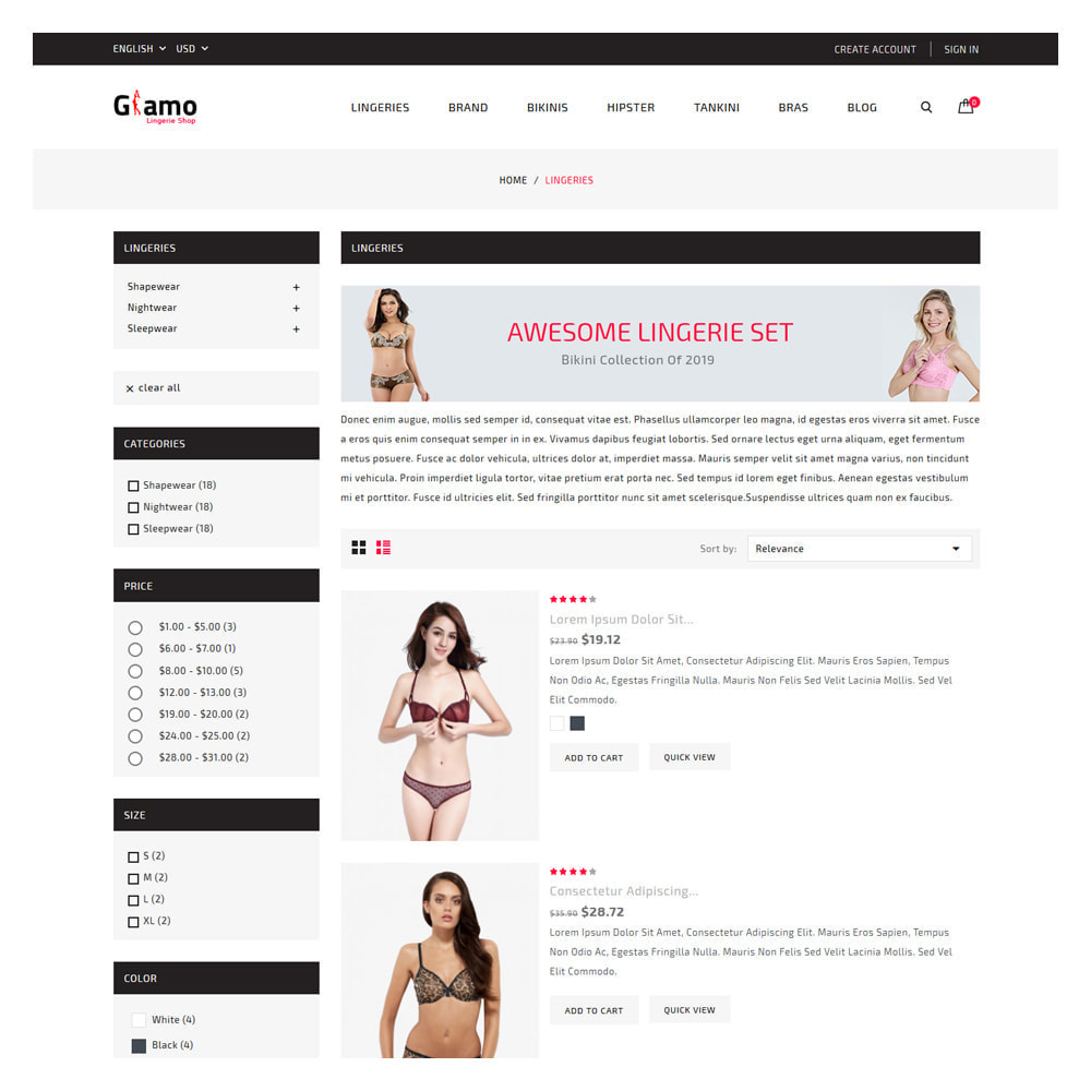 theme - Lingerie & Adult - Glamo Lingerie & Adult Store - 3
