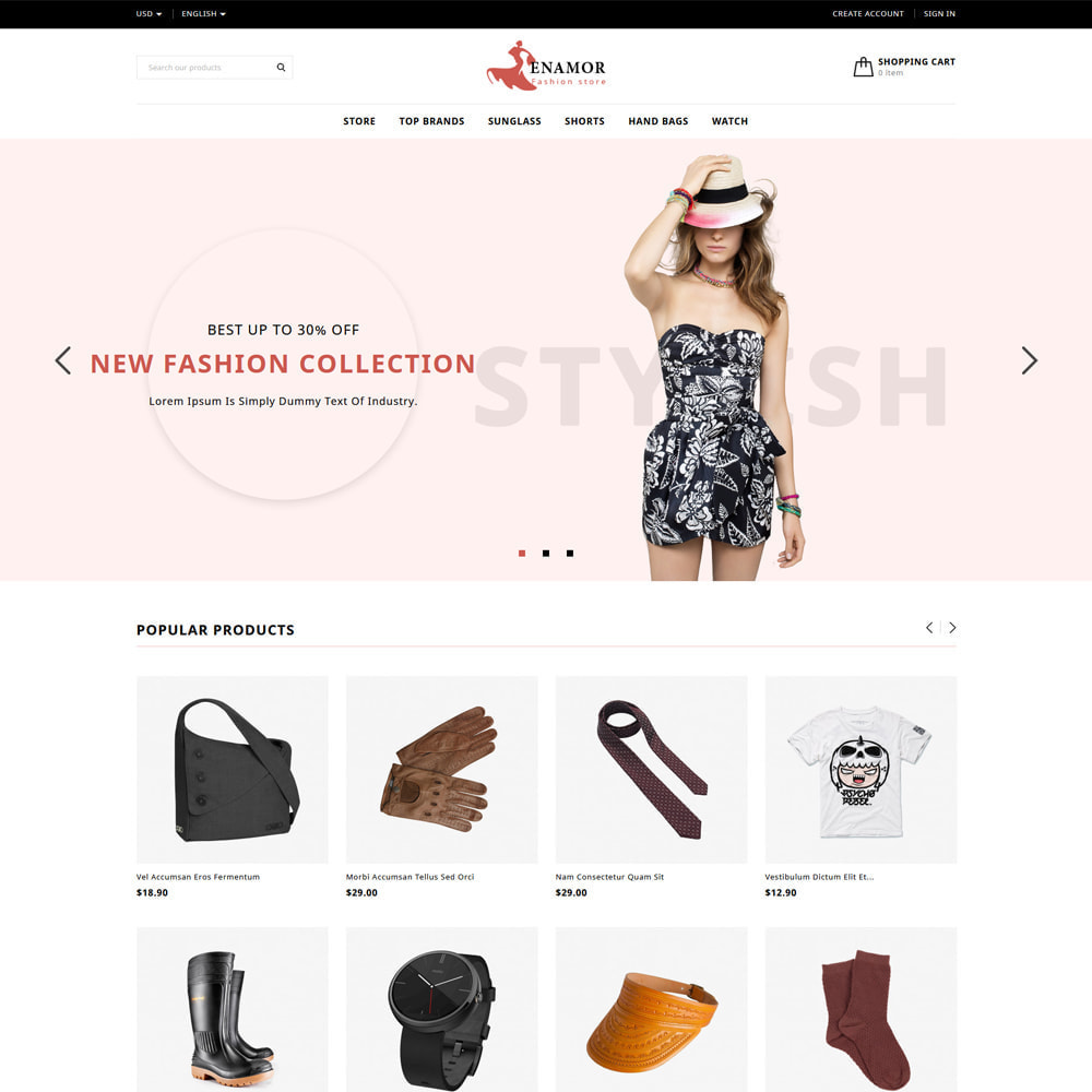 theme - Fashion & Shoes - Enamor Fashion & Shoes Shop - 1