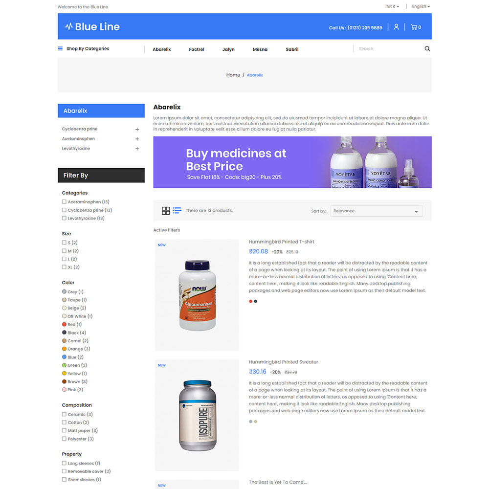 theme - Health & Beauty - Blue Line - Medical Vitamin Store - 4