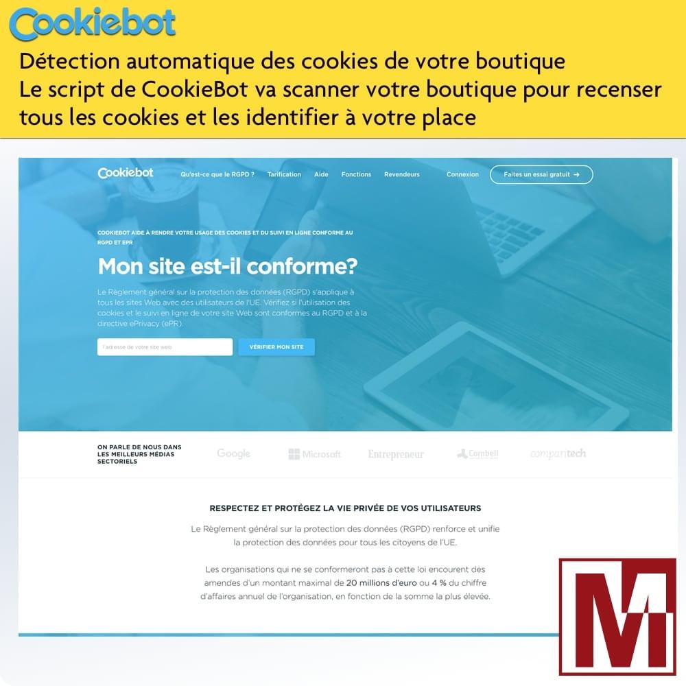 module - Législation - Cookiebot - Surveillance et contrôle des cookies - 3