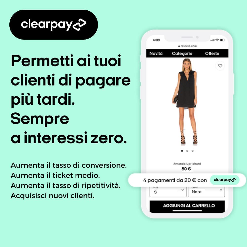 module - Pagamento - Clearpay - Acquista ora, paga più tardi, Sempre a interessi zero - 1