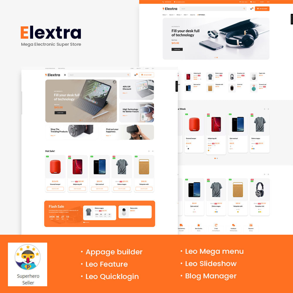 theme - Electrónica e High Tech - Elextra Mega Electronic Super Store - 1