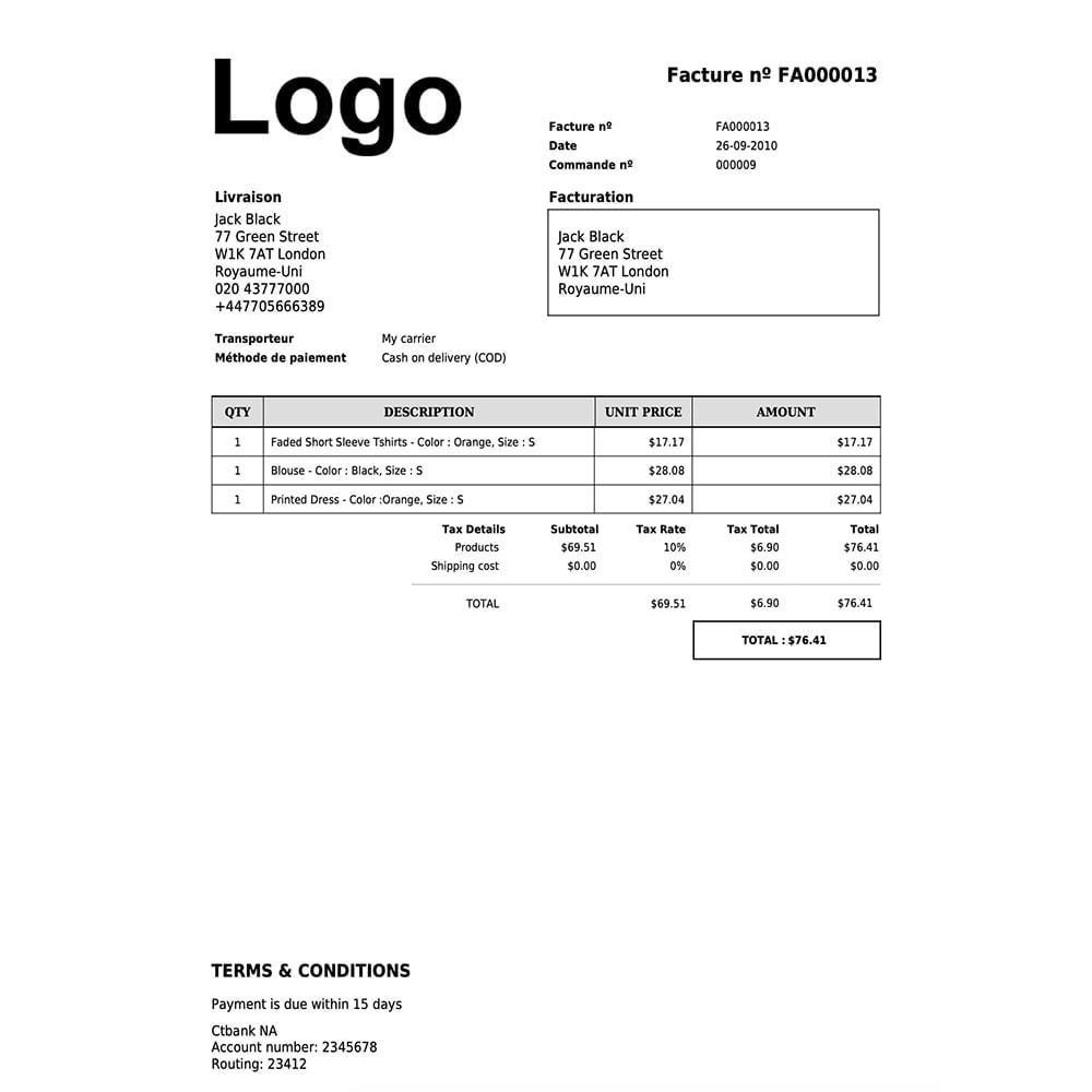 module - Comptabilité & Facturation - DocumenThemix: modèle de facture, crédit, livraison - 8