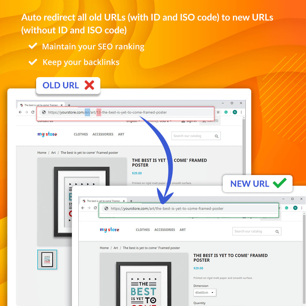 module - Gestão de URL & Redirecionamento - Awesome URL – Remove IDs (numbers) & ISO code in URL - 4
