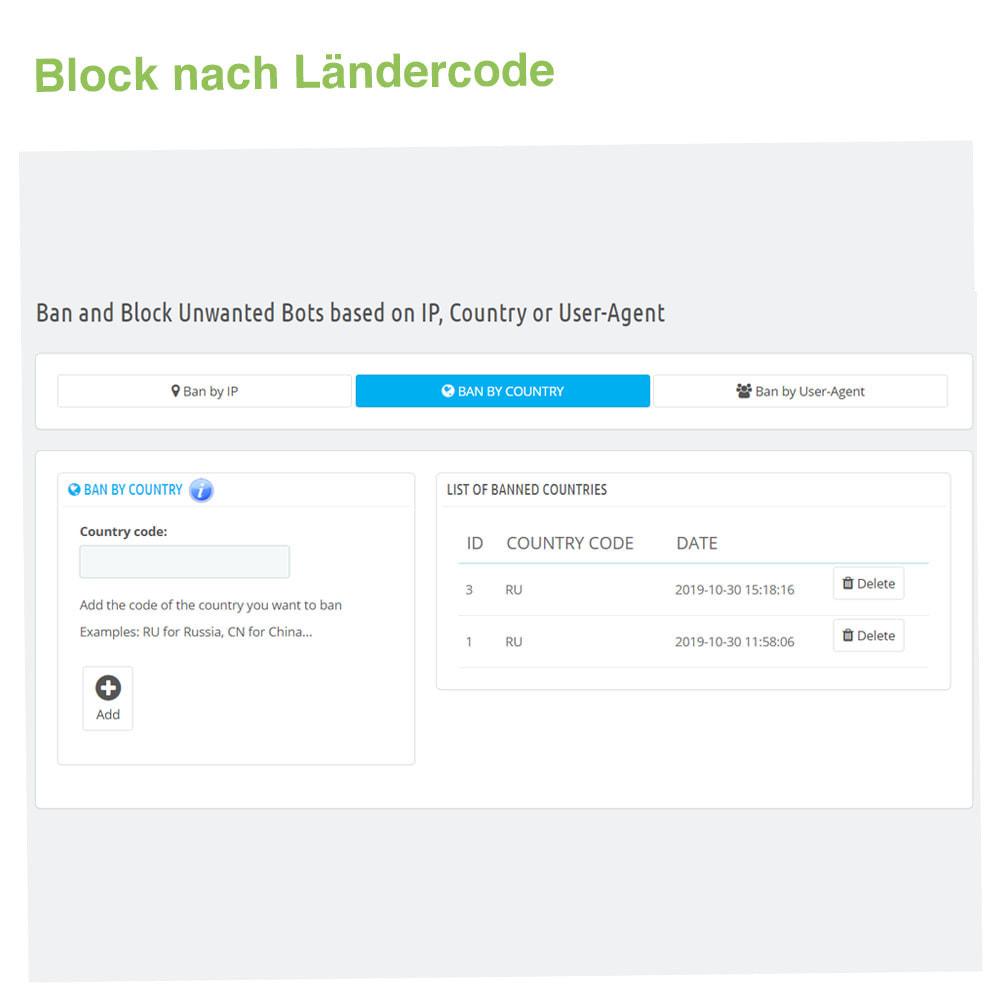 module - Sicherheit & Berechtigungen - Ban&Block Bots basierend auf IP, Land oder User-Agent - 3