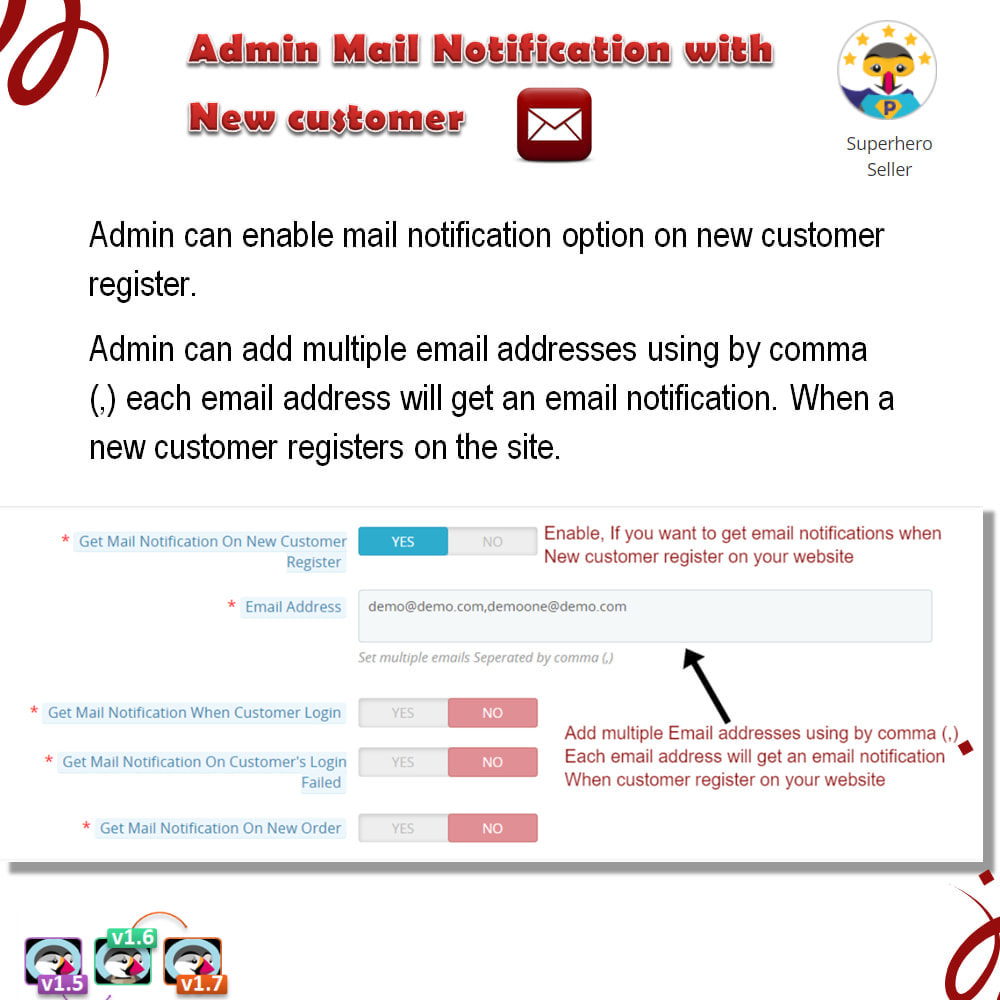module - Email & Notifiche - Admin Mail Notification With New Customer - 5