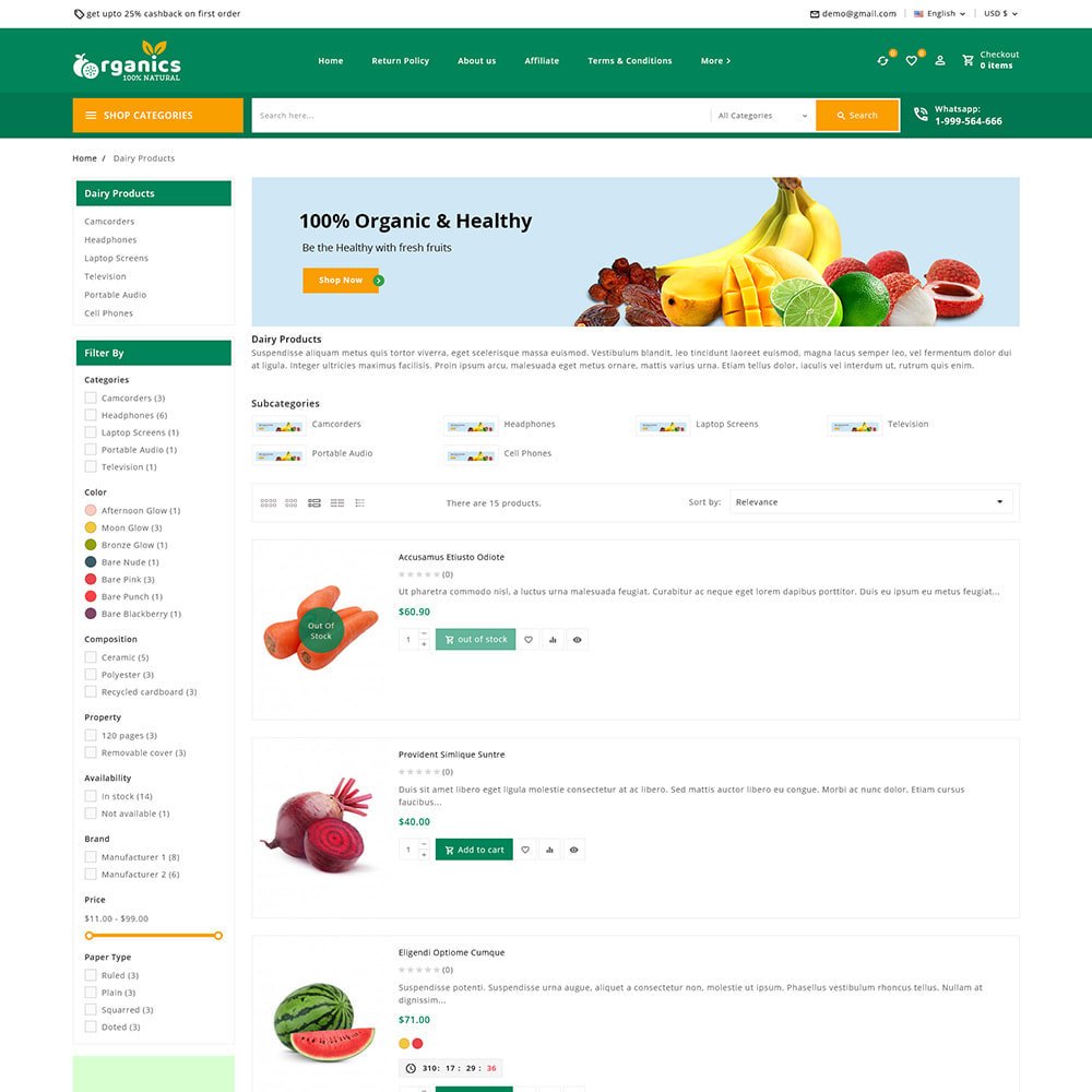 theme - Alimentation & Restauration - Organics - Fresh Food Delivery Store - 7