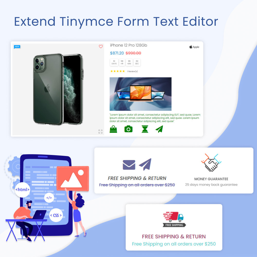 module - Blocos, Guias & Banners - Extend Tinymce Form Text Editor - 1