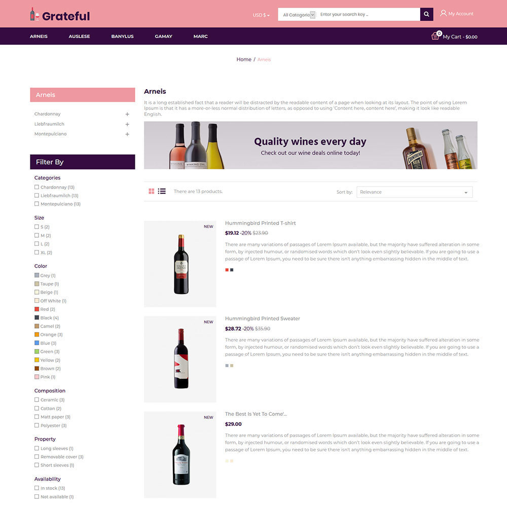 theme - Drank & Tabak - Grateful Wine - Alcohol Beer Red Wine Store - 4