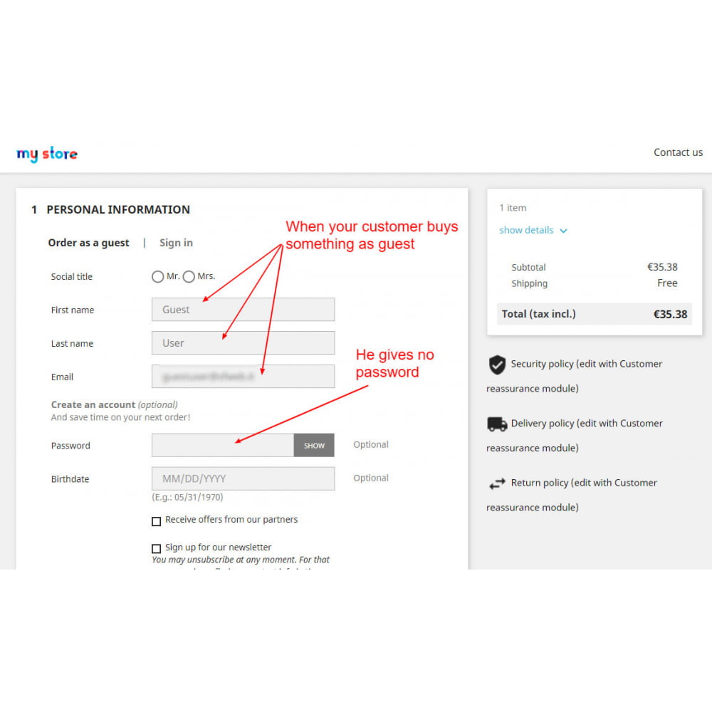 module - Управления учетными записями клиентов - Transform guest account to customer account - 2