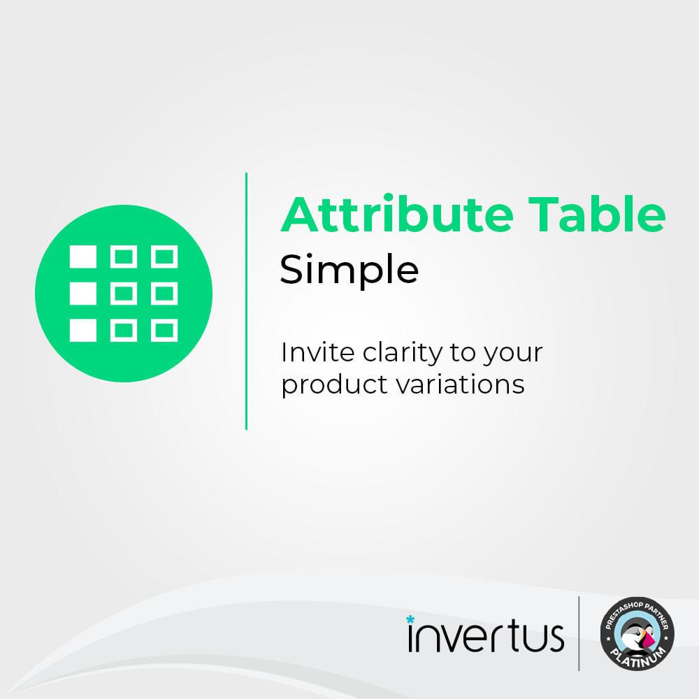 module - Combinaciones y Personalización de productos - Tabla de atributos simple: para producto - 1