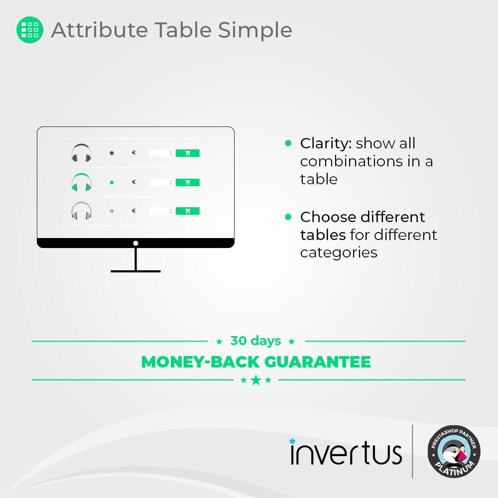 module - Déclinaisons & Personnalisation de produits - Table d'attributs simple - Pour le produit - 2