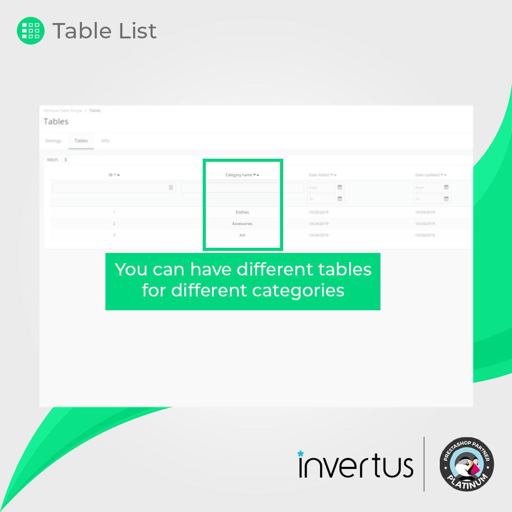 module - Déclinaisons & Personnalisation de produits - Table d'attributs simple - Pour le produit - 7