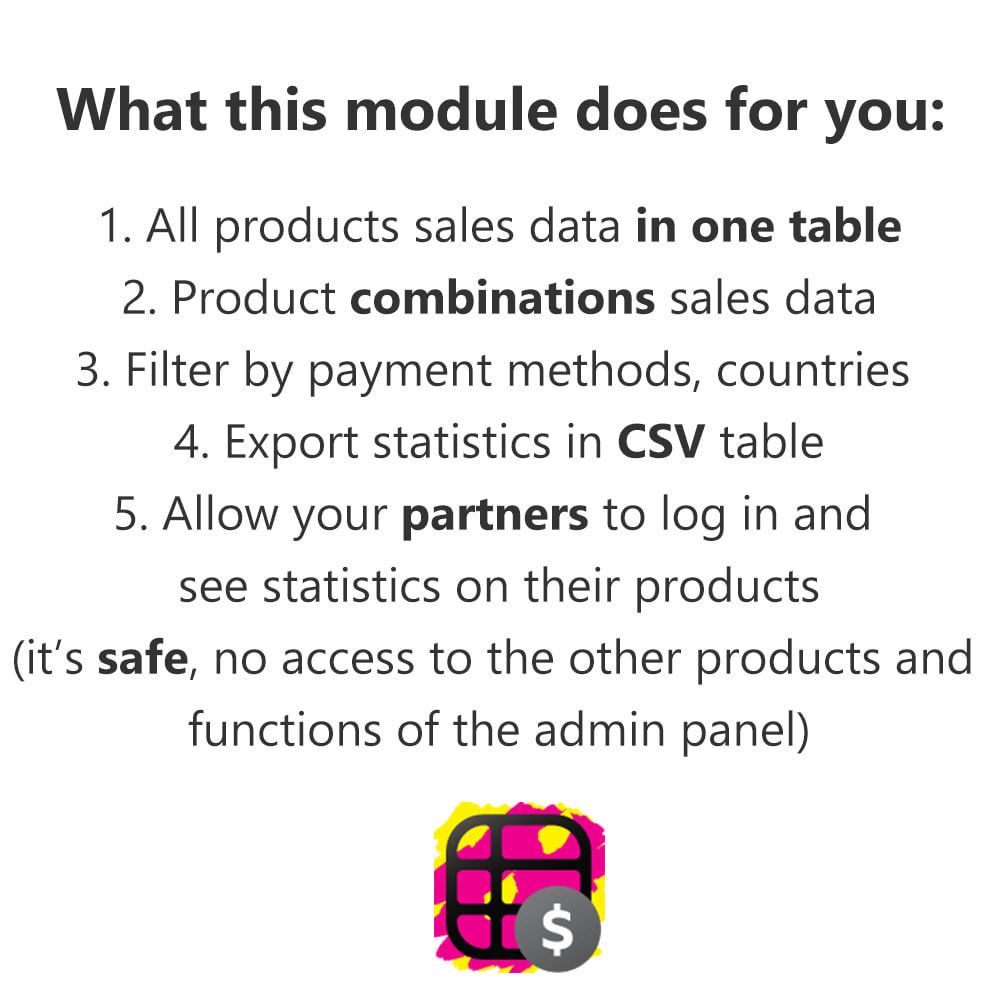 module - Analyses & Statistiques - Product Sales Reports, Statistics for Your Partners - 1