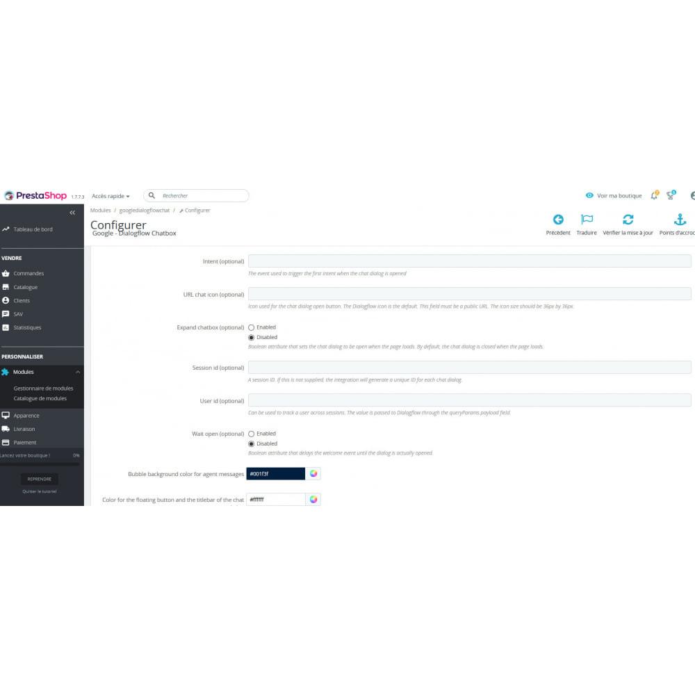 module - Ondersteuning & Online chat - Google - Dialogflow Chatbot - 2