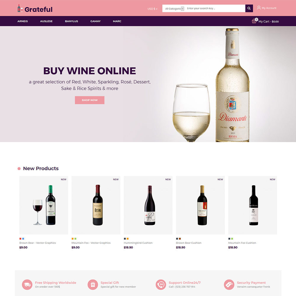 theme - Drink & Wine - Grateful Wine - Negozio di vini rossi di birra alcolica - 3
