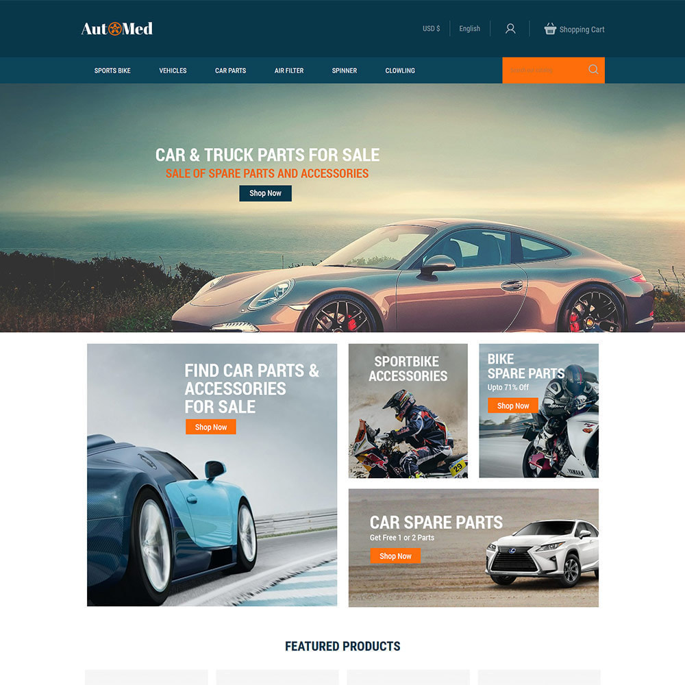 theme - Automotive & Cars - Automed  - Tool Auto Car Accessories Store - 1
