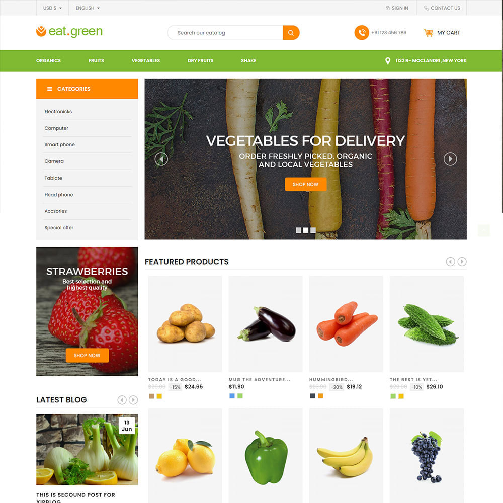 theme - Продовольствие и рестораны - Eat Green - Fruit Vegitable Organic Food Store - 2