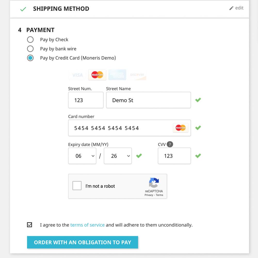 module - Płatność kartą lub Płatność Wallet - Moneris Payment Gateway Canada - 2