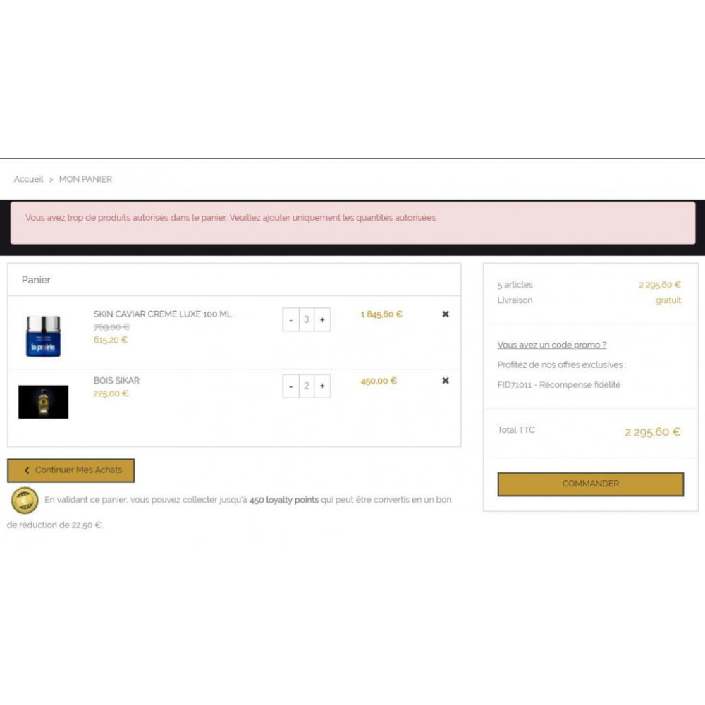 module - Registration & Ordering Process - Max product order - 2