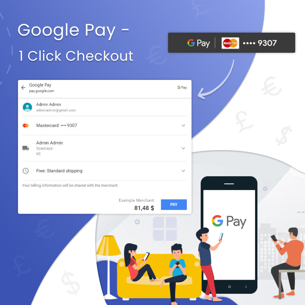 module - Payment by Card or Wallet - Google Pay & Apple Pay - 1 Click Checkout - 1