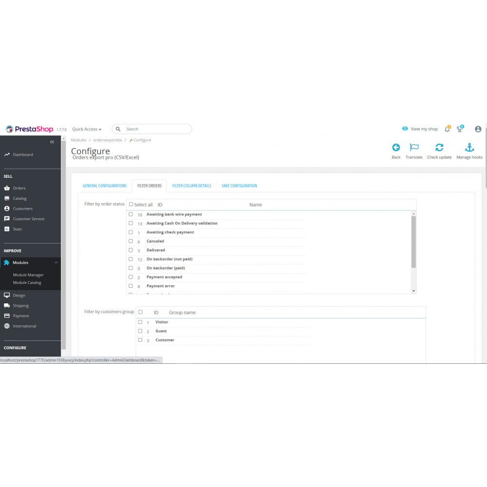 module - Importación y Exportación de datos - Orders Export Pro (Excel,CSV) - 2