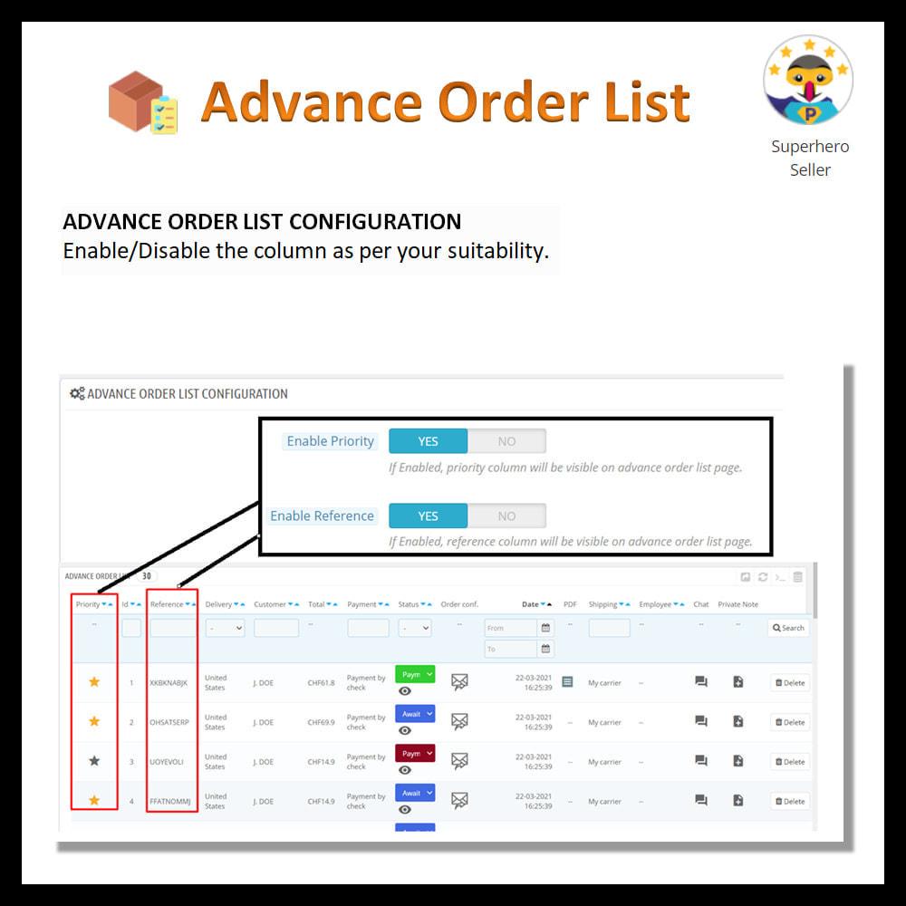 module - Order Management - Advance order list-configurable/ fast view - 5