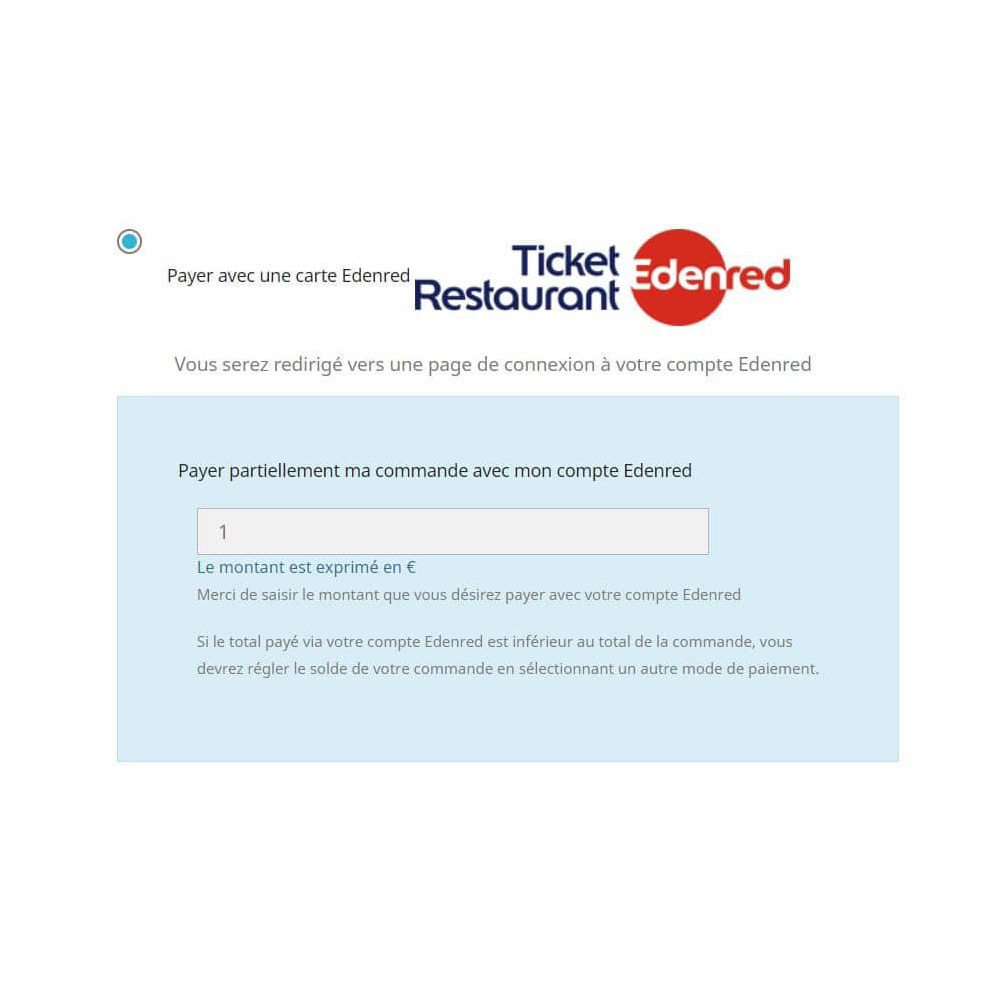 module - Payment by Card or Wallet - Edenred card payment - 2
