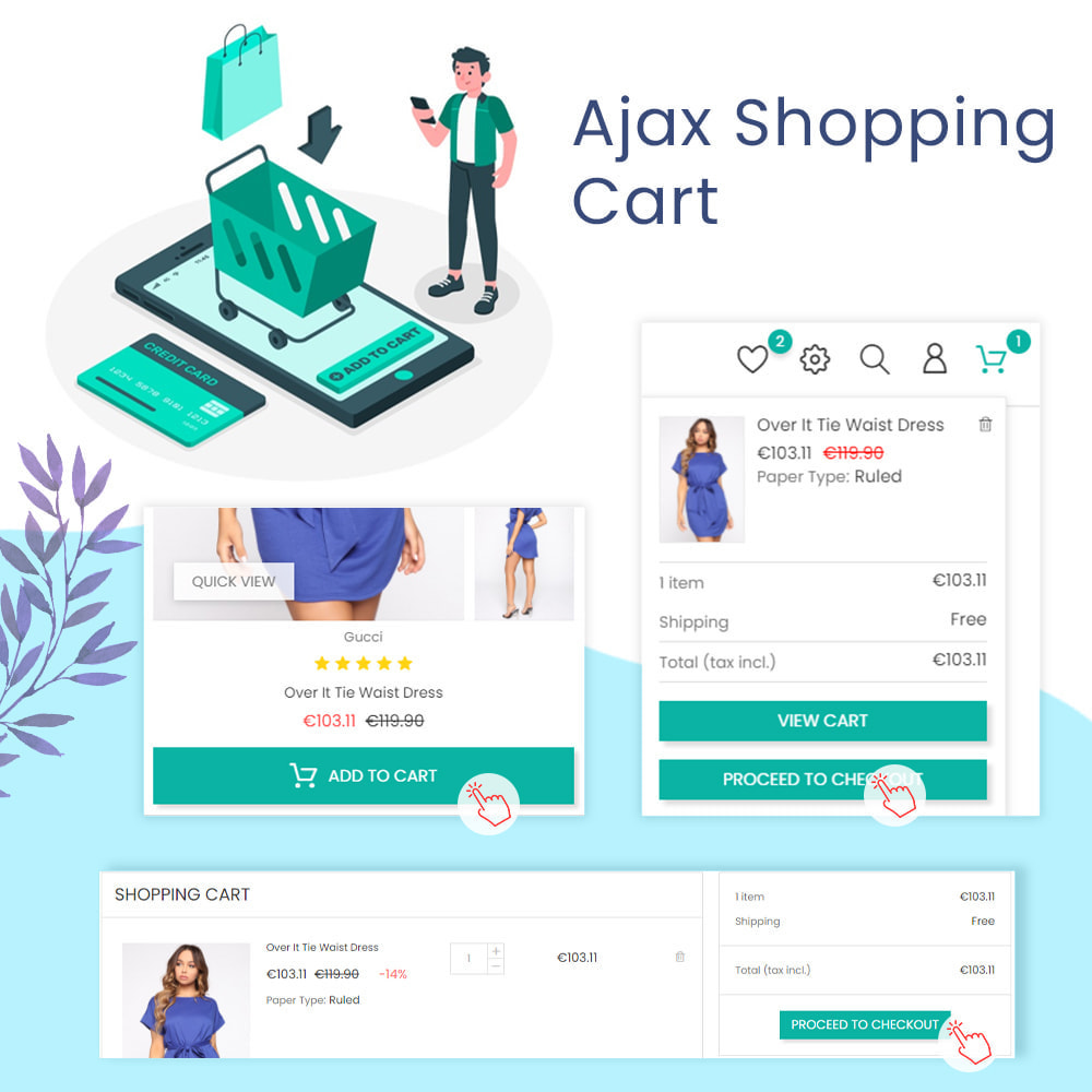 module - Express Checkout Process - Ajax Shopping Cart - Popup & Drop Down - 1