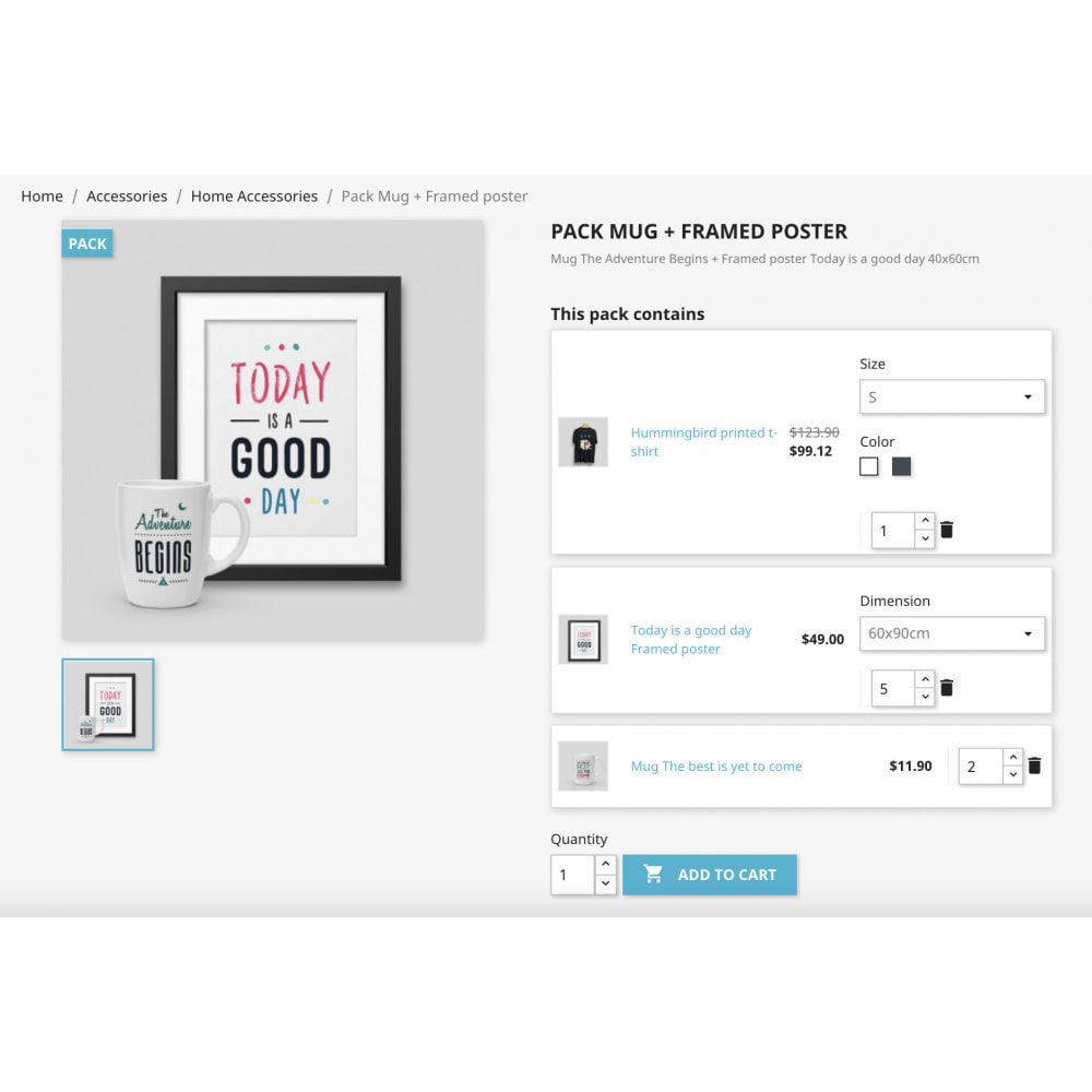 module - Combinations & Product Customization - Product Bundle Pack Add multiple products into the cart - 7