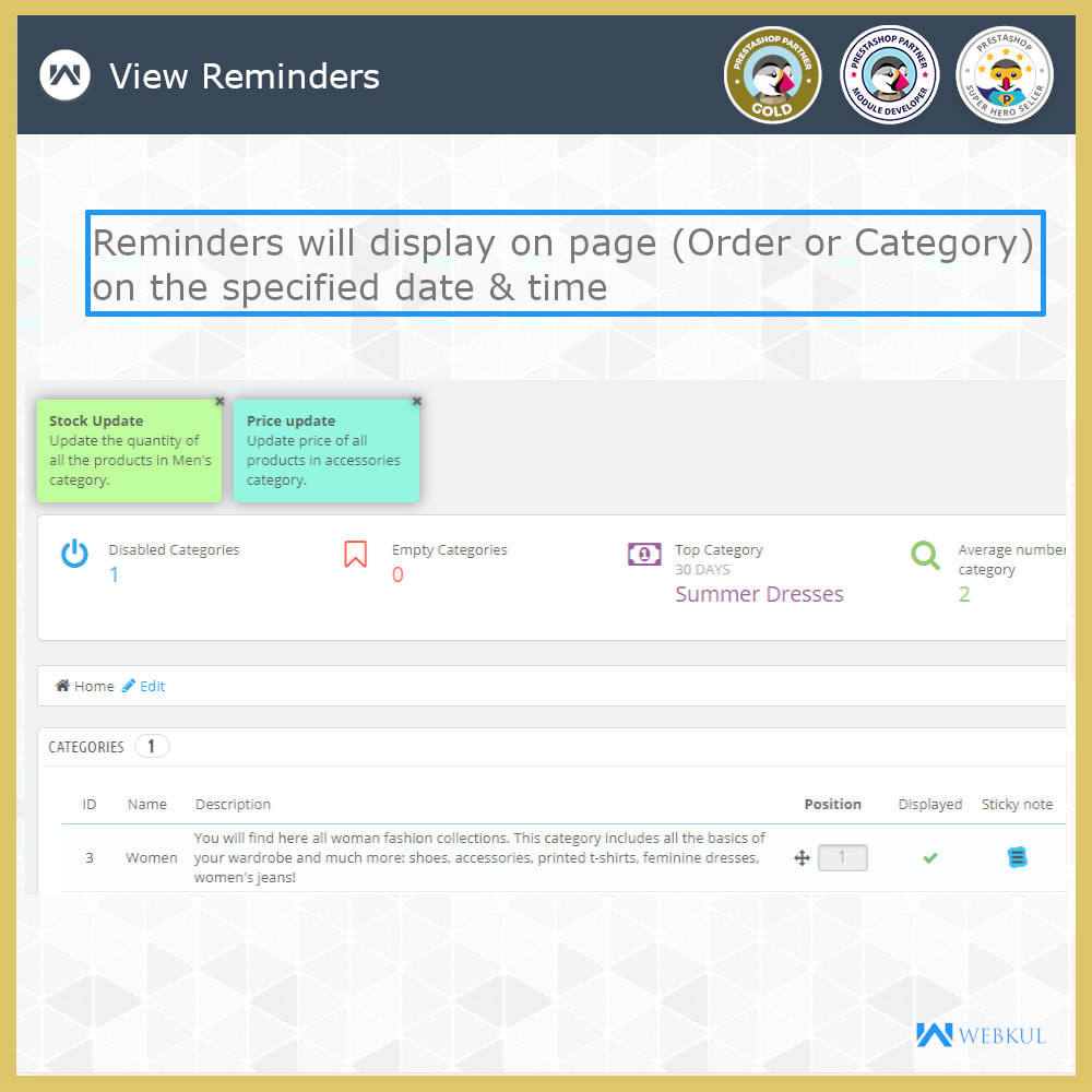 module - Notifications & Automatic Emails - Sticky Notes for Orders and Categories - 7