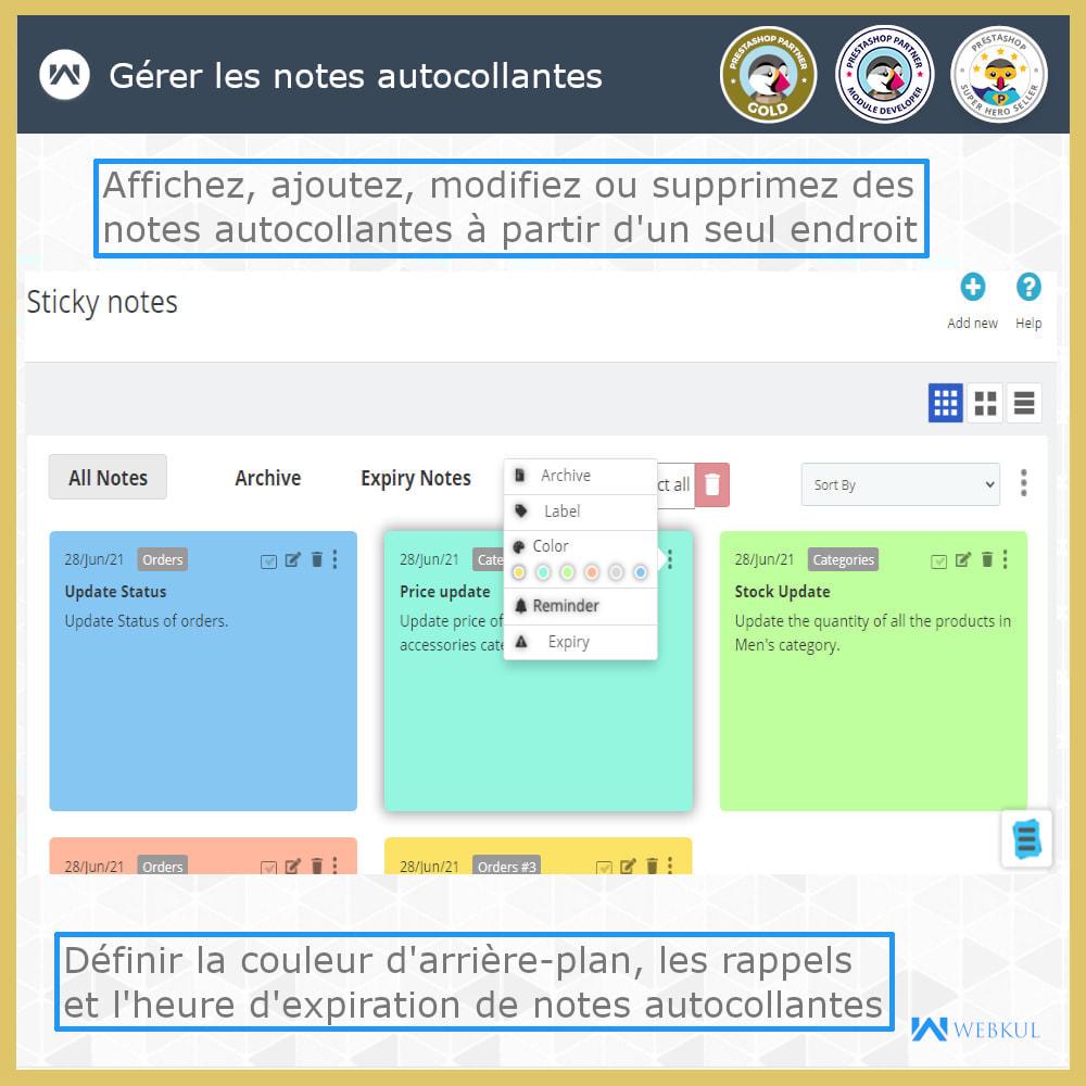 module - E-mails & Notifications - Sticky Notes pour commandes et catégories - 1