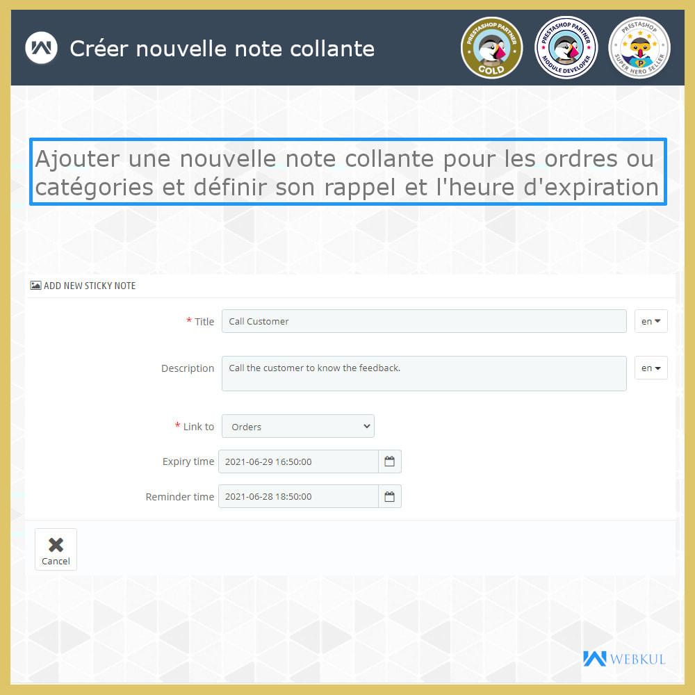 module - E-mails & Notifications - Sticky Notes pour commandes et catégories - 2