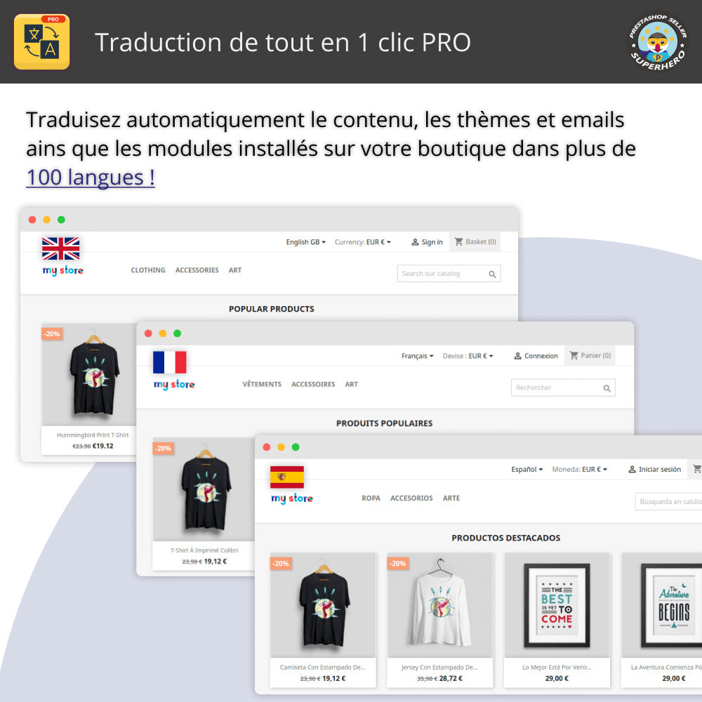 module - International & Localisation - Traduction de tout en 1 clic PRO - 1