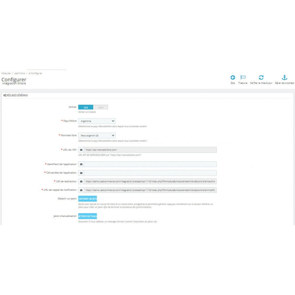 module - Connexion à un logiciel tiers (CRM, ERP...) - Intégration CedCommerce MercadoLibre - 1