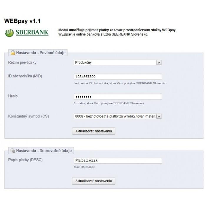module - Payments & Gateways - WEBpay (SBERBANK) - 2