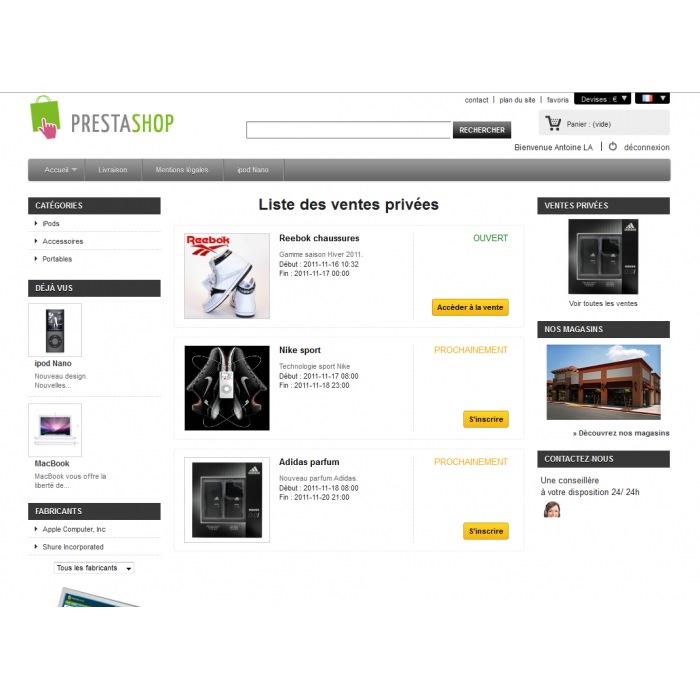 Ventes priv es prestashop prestashop addons - Meilleur site de vente privee en ligne ...