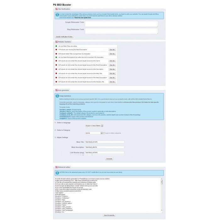 module - Естественная поисковая оптимизация - Prestashop SEO Booster - 5
