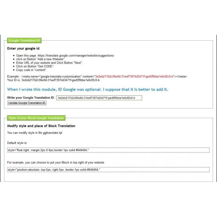 module - International & Localisation - google translation - 1