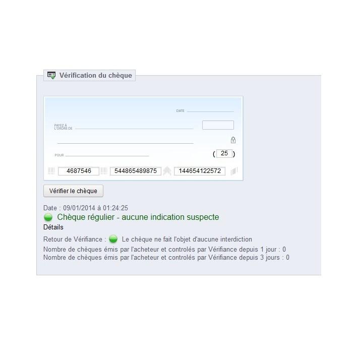 module - Veiligheid & Toegang - Antifraude for cheques via Banque de France - 1