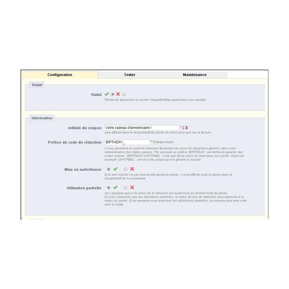 module - Fidélisation & Parrainage - coupon anniversaire : fidélisez vos clients - 2