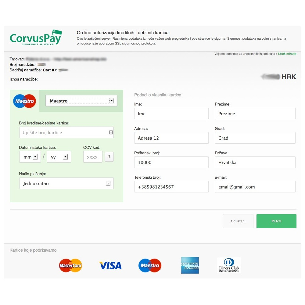 module - Payment by Card or Wallet - CorvusPay Form Service Integration - 3