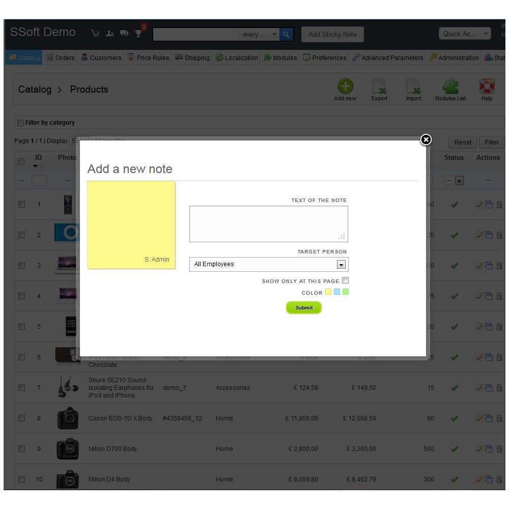 module - Administratieve tools - Sticky Notes for Admin - 2