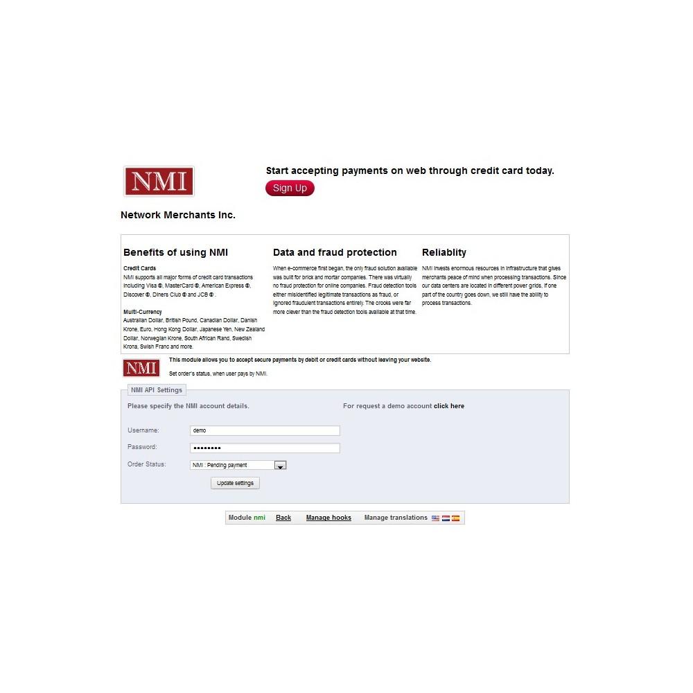 module - Creditcardbetaling of Walletbetaling - NMI Payment Gateway - 3