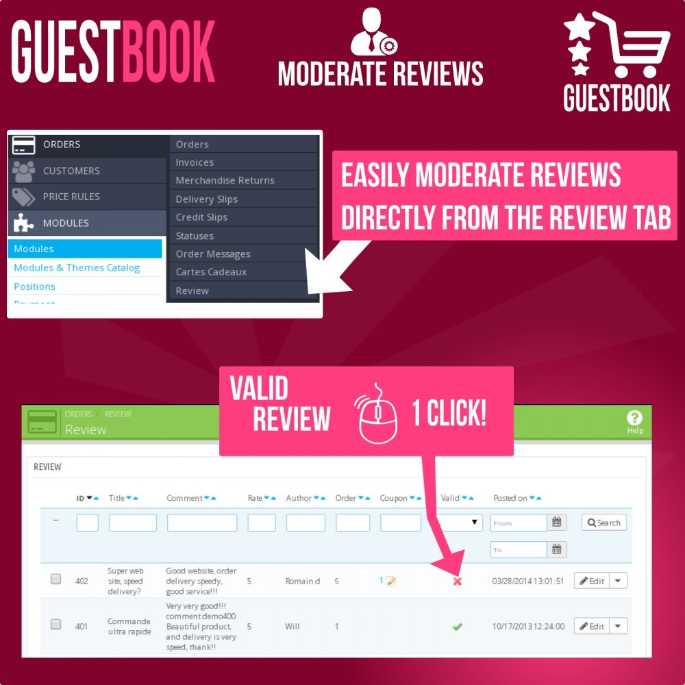 module - Customer Reviews - Guestbook orders customers reviews - 9