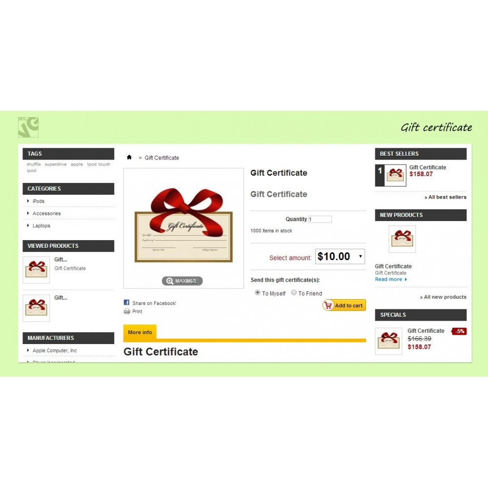 module - Whishlist & Gift Card - Gift Certificate - 5