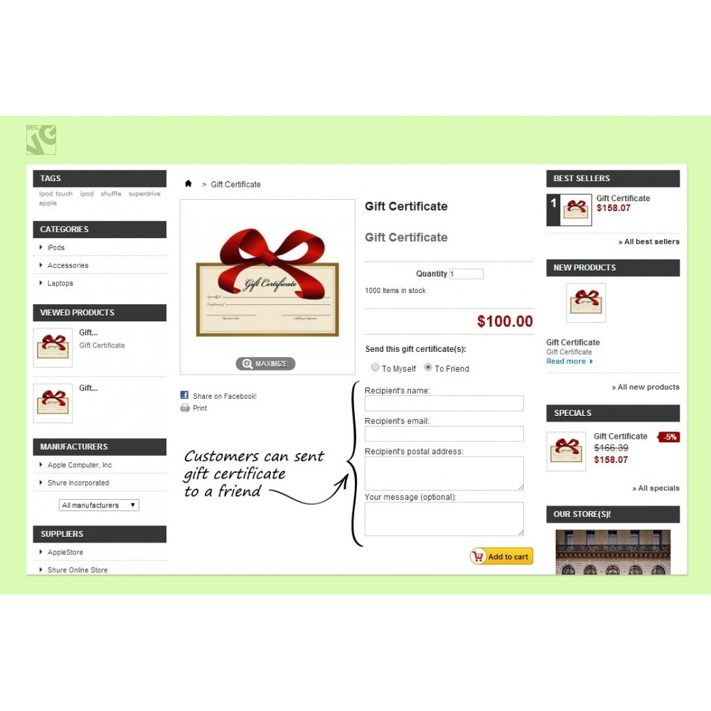 module - Whishlist & Gift Card - Gift Certificate - 10