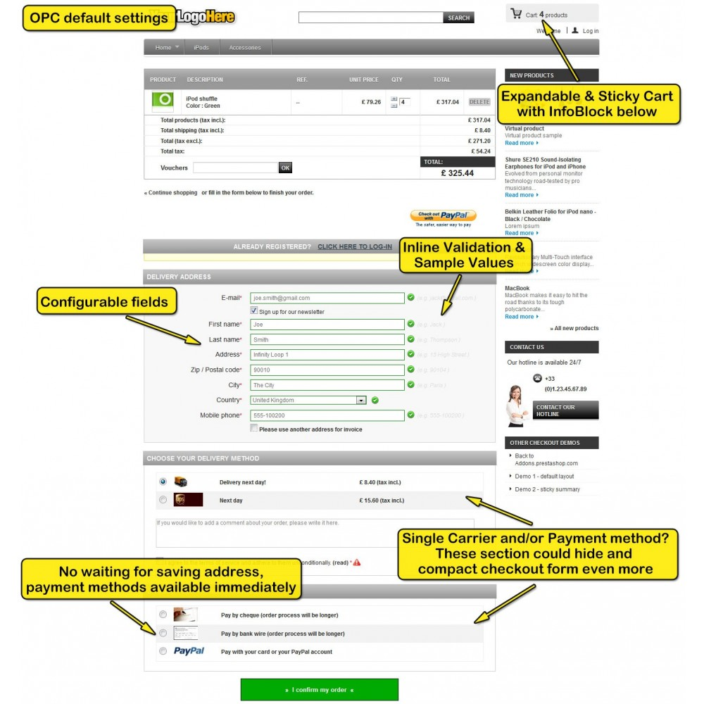 module - Express Checkout - One page checkout for Prestashop - 4